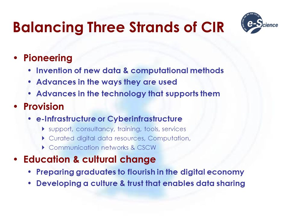 Balancing Three Strands of CIR Pioneering Invention of new data & computational methods Advances in the ways they are used Advances in the technology