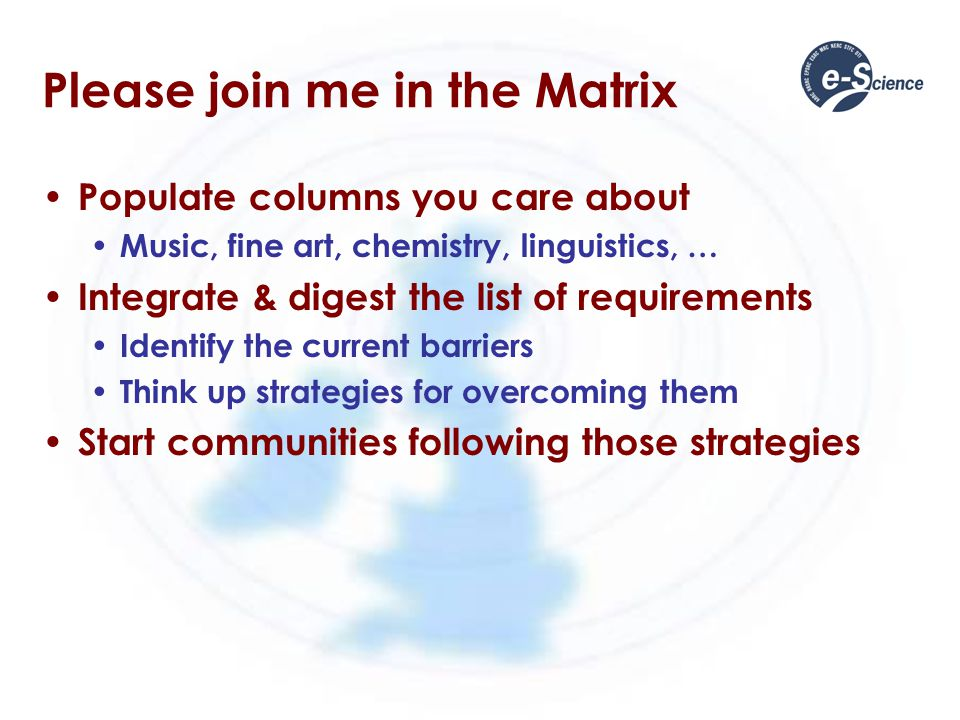 Please join me in the Matrix Populate columns you care about Music, fine art, chemistry, linguistics, … Integrate & digest the list of requirements Identify the current barriers Think up strategies for overcoming them Start communities following those strategies