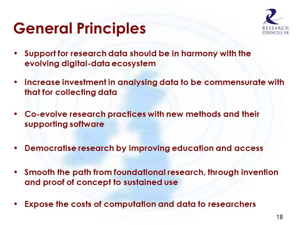 General Principles Support for research data should be in harmony with the evolving digital-data ecosystem Increase investment in analysing data to be