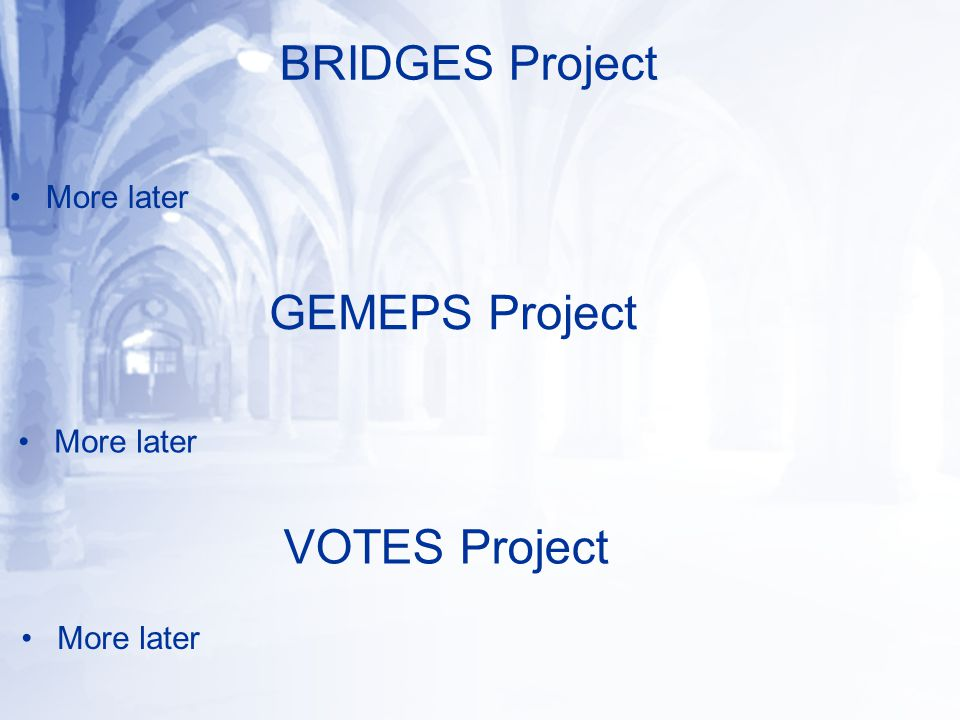 BRIDGES Project More later GEMEPS Project More later VOTES Project More later