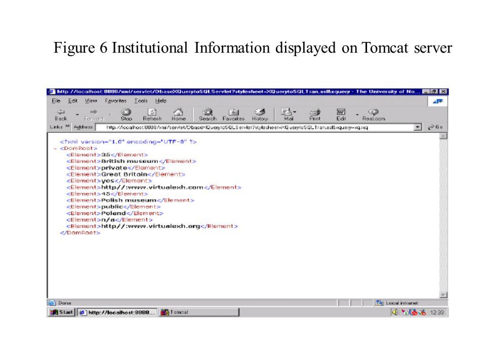 Figure 6 Institutional Information displayed on Tomcat server