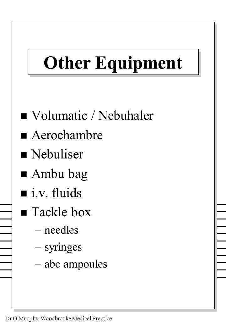 Dr G Murphy, Woodbrooke Medical Practice The Bag n Price n Size n Weight n Materials n Layout n Security Locks n Space inside for charts n Storage (4 - 25C)
