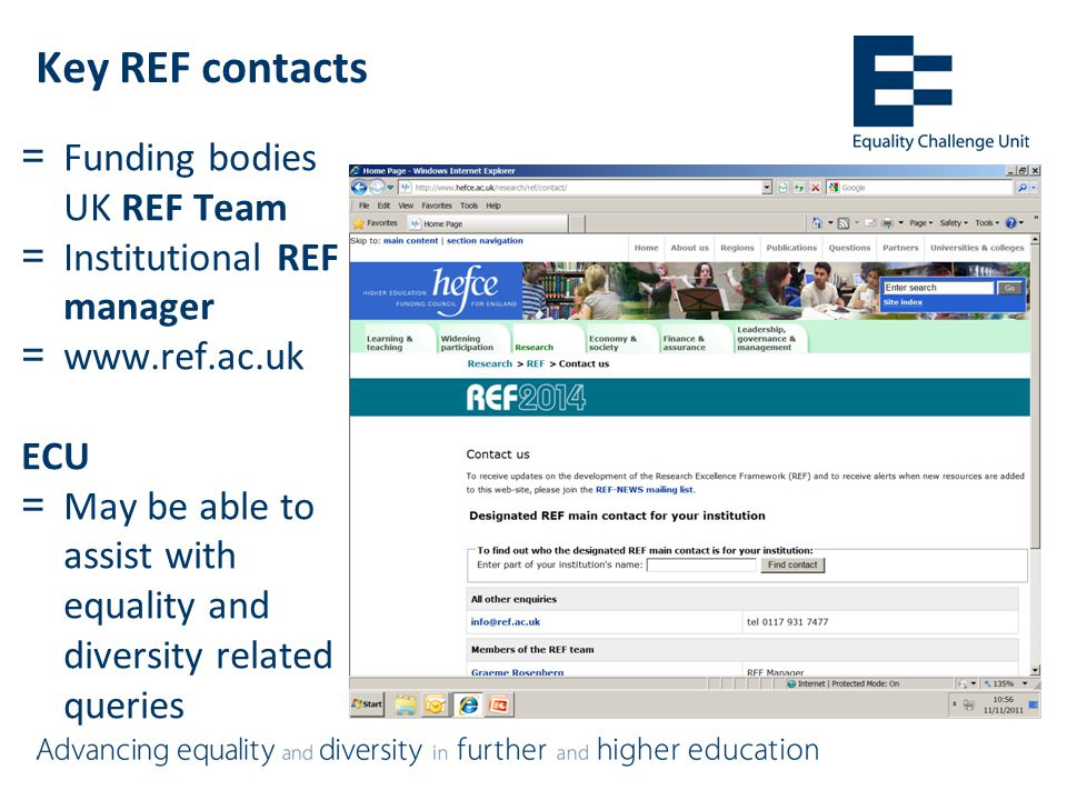 Key REF contacts =Funding bodies UK REF Team =Institutional REF manager =www.ref.ac.uk ECU =May be able to assist with equality and diversity related queries