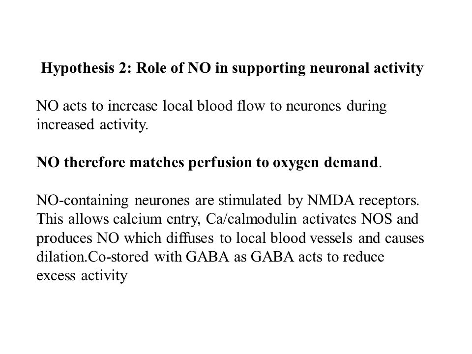 Hypothesis 2: Role of NO in supporting neuronal activity NO acts to increase local blood flow to neurones during increased activity.