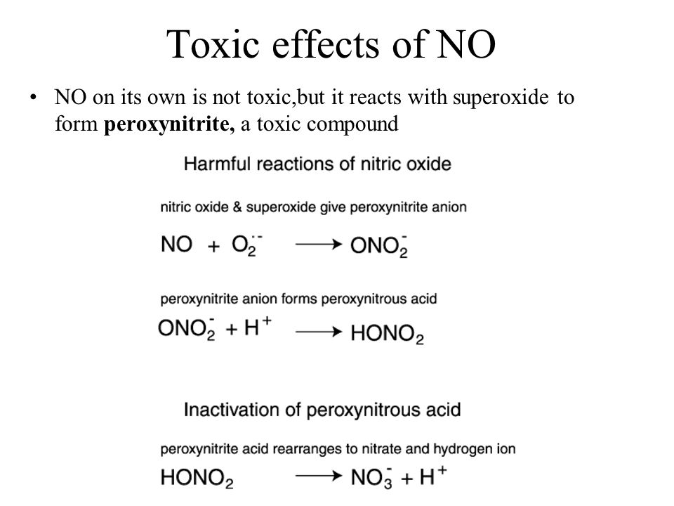 Toxic effects of NO NO on its own is not toxic,but it reacts with superoxide to form peroxynitrite, a toxic compound