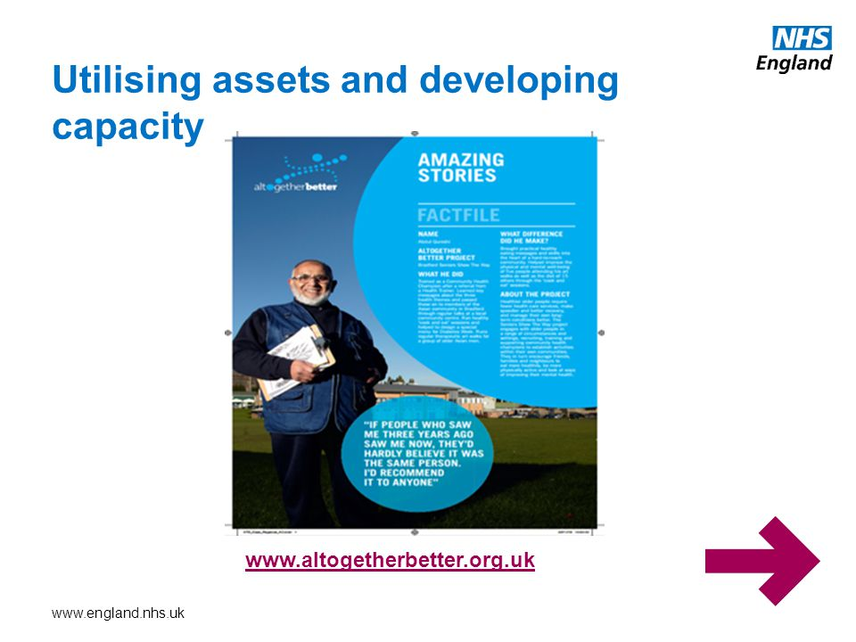 www.england.nhs.uk Utilising assets and developing capacity www.altogetherbetter.org.uk