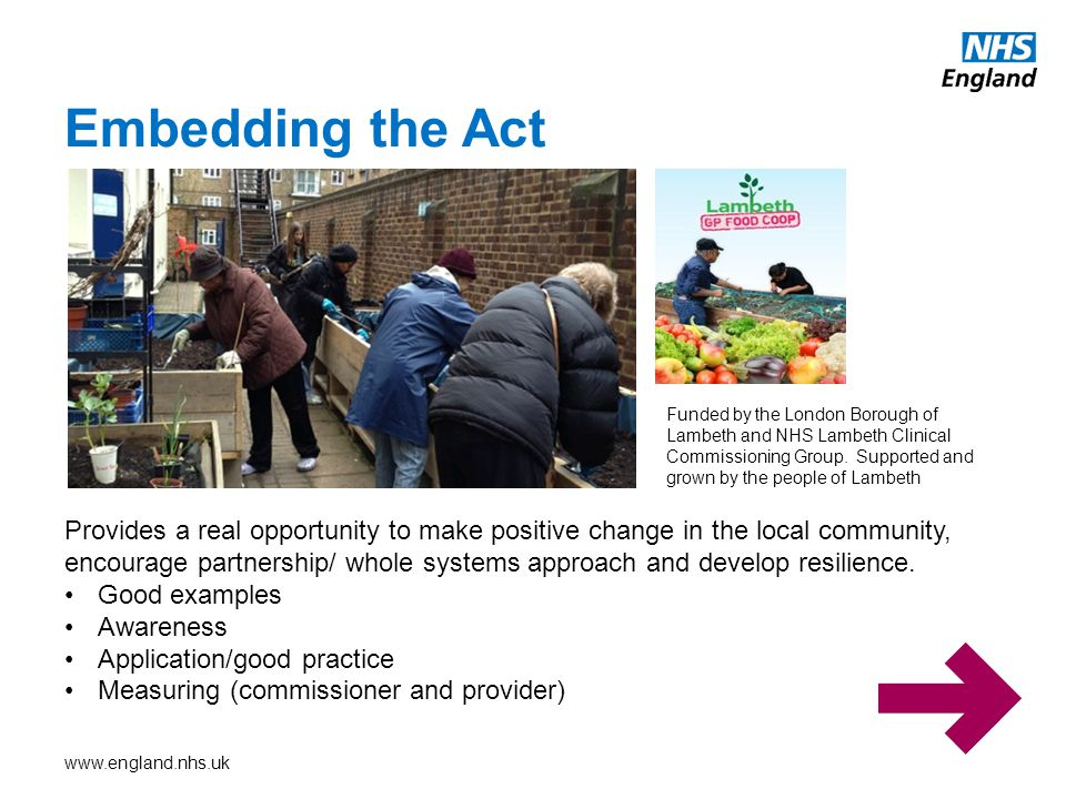 www.england.nhs.uk Embedding the Act Funded by the London Borough of Lambeth and NHS Lambeth Clinical Commissioning Group.