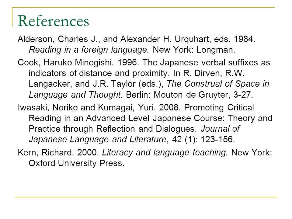 References Alderson, Charles J., and Alexander H. Urquhart, eds.