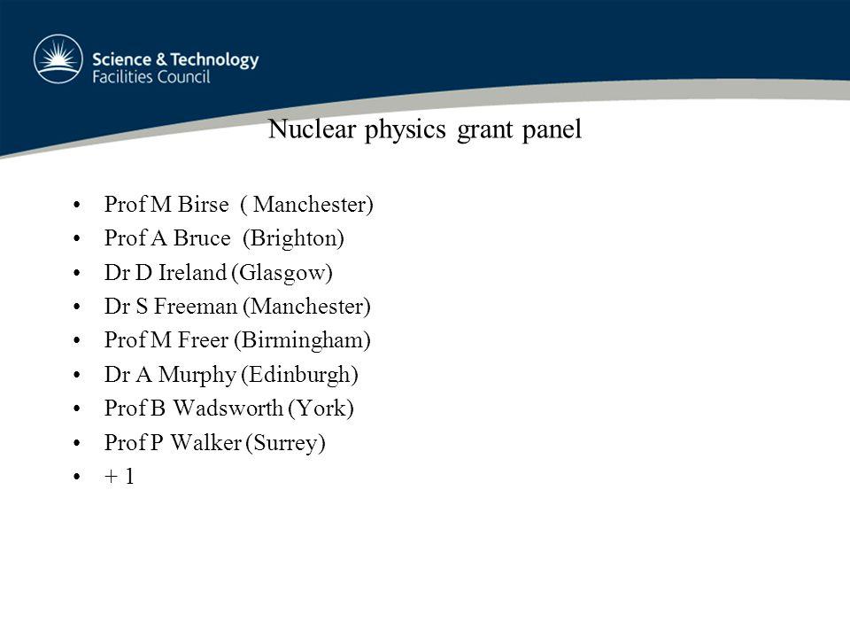 Nuclear physics grant panel Prof M Birse ( Manchester) Prof A Bruce (Brighton) Dr D Ireland (Glasgow) Dr S Freeman (Manchester) Prof M Freer (Birmingham) Dr A Murphy (Edinburgh) Prof B Wadsworth (York) Prof P Walker (Surrey) + 1
