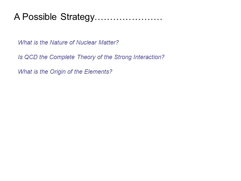 What is the Nature of Nuclear Matter. Is QCD the Complete Theory of the Strong Interaction.