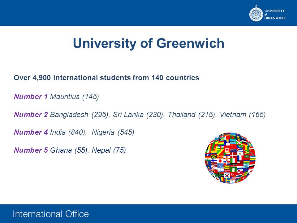 Over 4,900 International students from 140 countries Number 1 Mauritius (145) Number 2 Bangladesh (295), Sri Lanka (230), Thailand (215), Vietnam (165