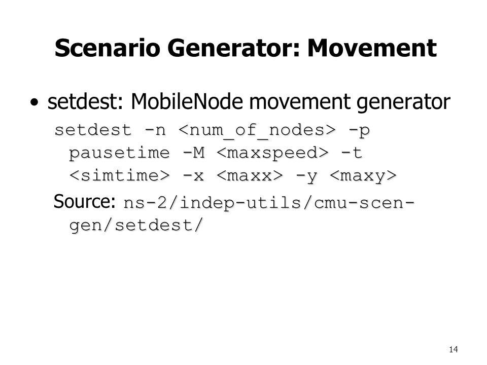 14 Scenario Generator: Movement setdest: MobileNode movement generator setdest -n -p pausetime -M -t -x -y setdest -n -p pausetime -M -t -x -y ns-2/indep-utils/cmu-scen- gen/setdest/ Source: ns-2/indep-utils/cmu-scen- gen/setdest/