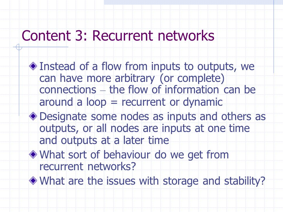 Content 4: Spiking networks So far we have though about signals in and out – voltage, current, or just numbers In reality, neurons are not quite like that.