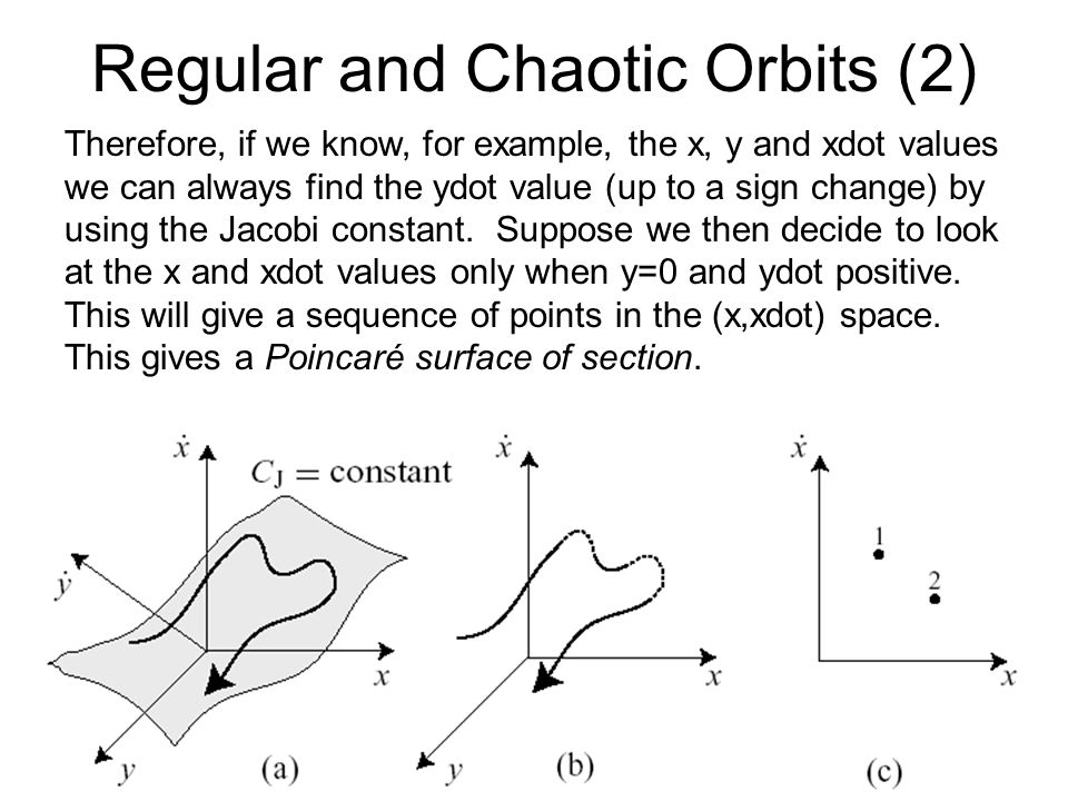 Regular and Chaotic Orbits (3) Let us look at some results of numerical integrations showing regular and chaotic orbits: First the evolution of e and a for a regular orbit: