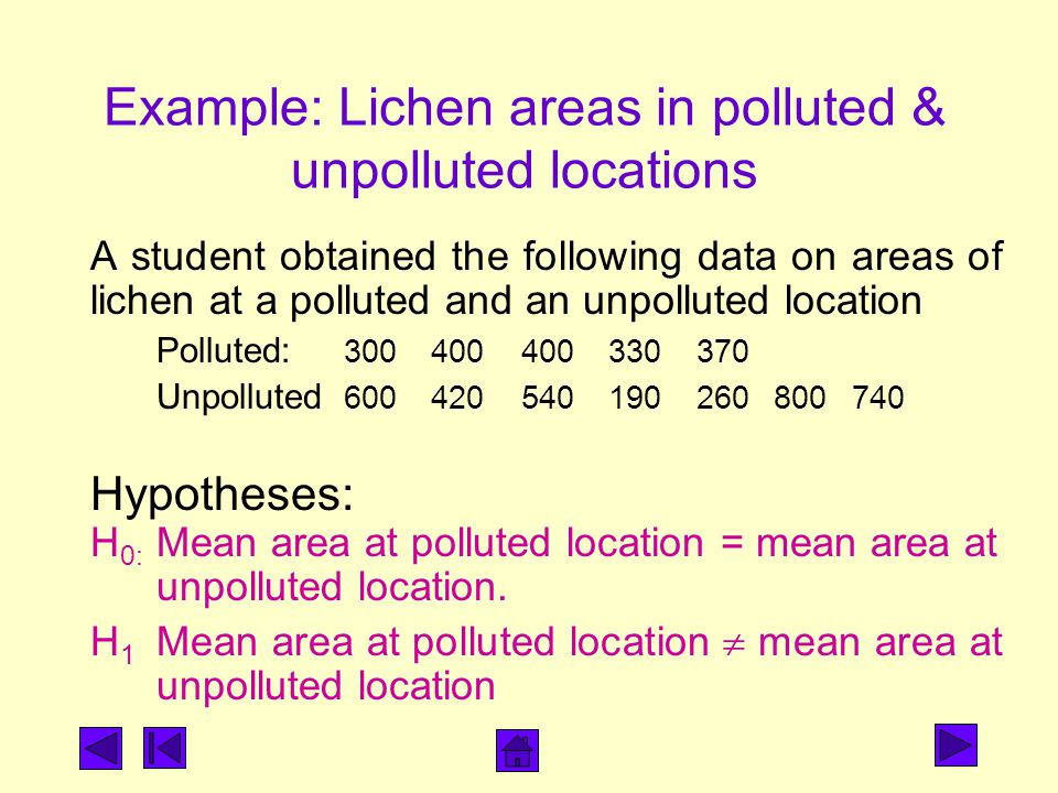 Example: Lichen areas in polluted & unpolluted locations A student obtained the following data on areas of lichen at a polluted and an unpolluted location Polluted: Unpolluted Hypotheses: H 0: Mean area at polluted location = mean area at unpolluted location.