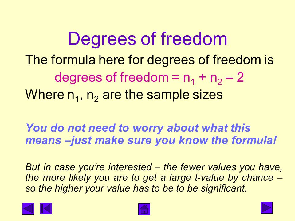 Degrees of freedom The formula here for degrees of freedom is degrees of freedom = n 1 + n 2 – 2 Where n 1, n 2 are the sample sizes You do not need t