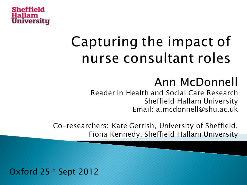 Ann McDonnell Reader in Health and Social Care Research Sheffield Hallam University   Co-researchers: Kate Gerrish, University of Sheffield, Fiona Kennedy, Sheffield Hallam University Oxford 25 th Sept 2012