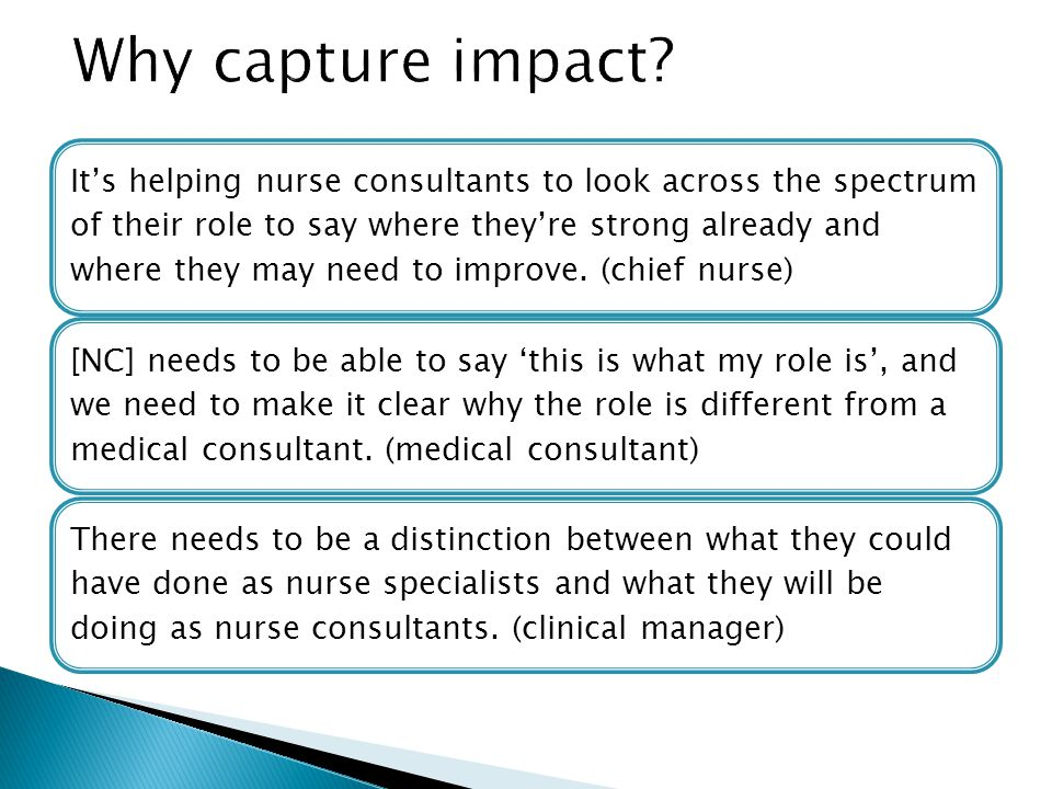 It's helping nurse consultants to look across the spectrum of their role to say where they're strong already and where they may need to improve.