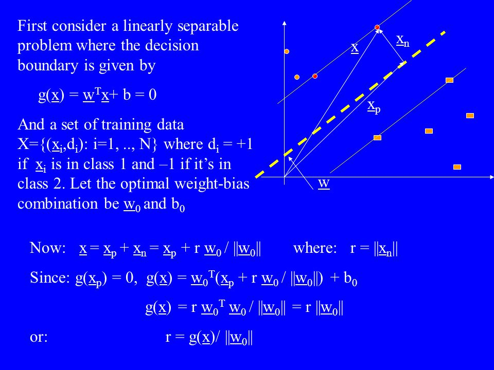 First consider a linearly separable problem where the decision boundary is given by g(x) = w T x+ b = 0 And a set of training data X={(x i,d i ): i=1,
