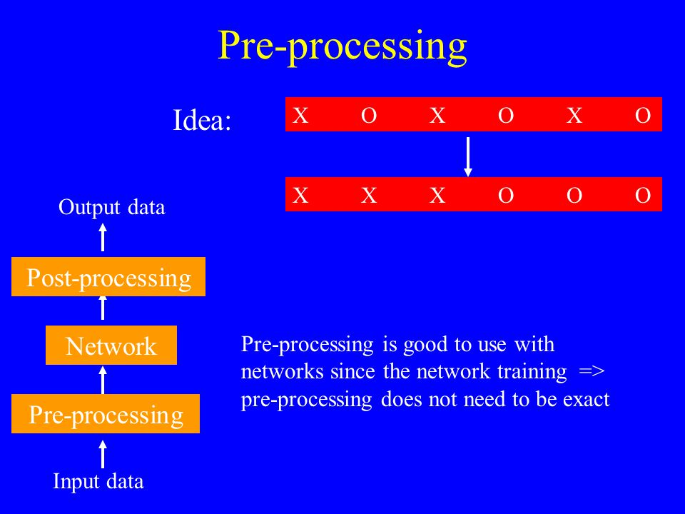 Must pre-process before performing ICA to give the data zero mean Also helps to whiten the data as it makes the mixing matrix orthogonal which means there are less parameters to estimate (since A T = A) Often good to reduce the dimensionality (via PCA etc) to get rid/reduce noise Pre-processing in ICA