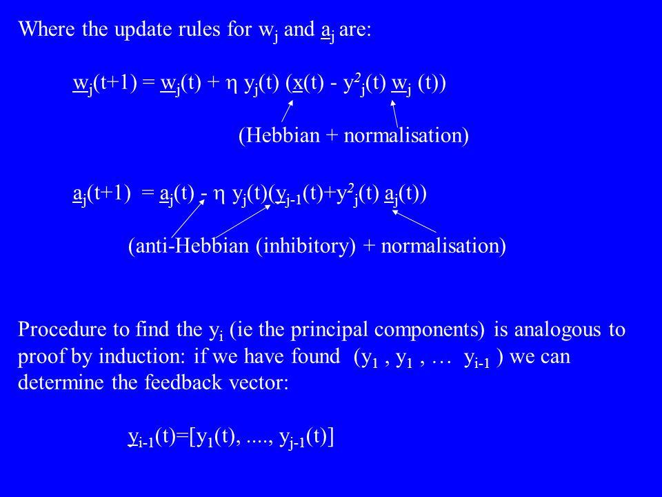 Where the update rules for w j and a j are: w j (t+1) = w j (t) +  y j (t) (x(t) - y 2 j (t) w j (t)) (Hebbian + normalisation) a j (t+1) = a j (t) -