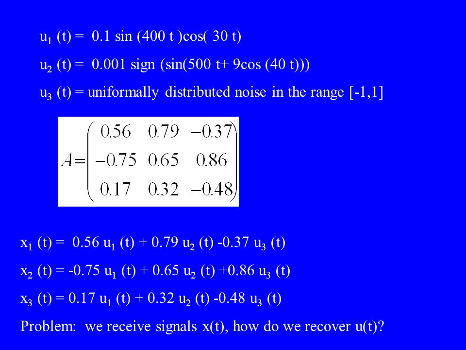 u 1 (t) = 0.1 sin (400 t )cos( 30 t) u 2 (t) = 0.001 sign (sin(500 t+ 9cos (40 t))) u 3 (t) = uniformally distributed noise in the range [-1,1] x 1 (t
