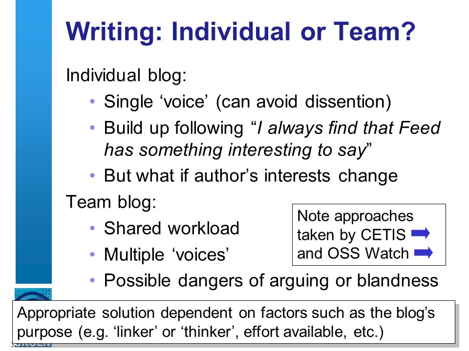 3 Writing: Individual or Team.