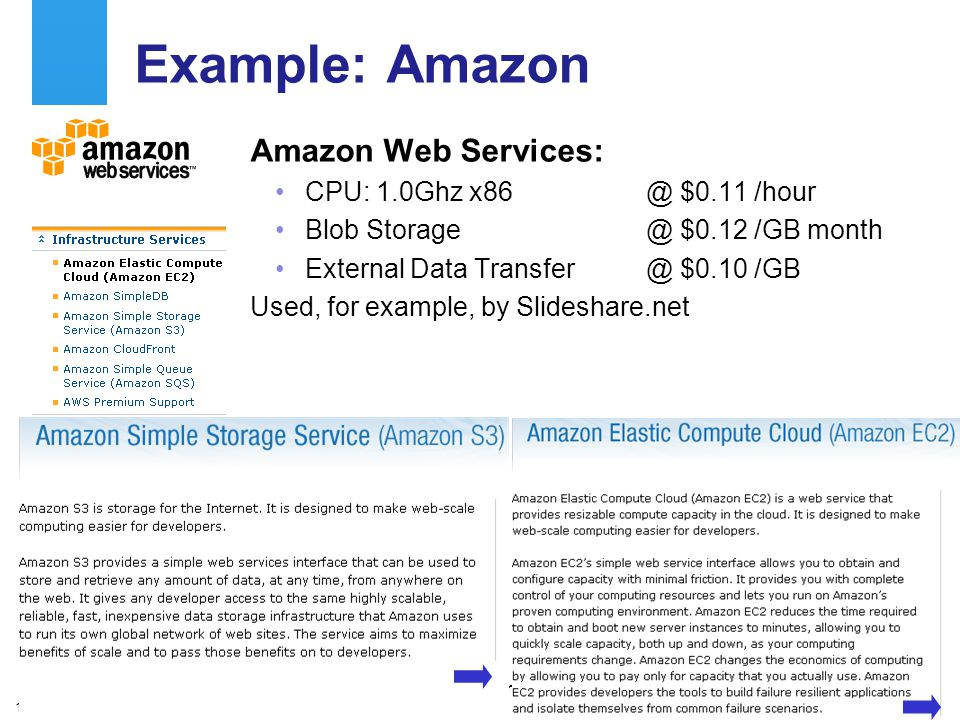 A centre of expertise in digital information managementwww.ukoln.ac.uk 10 Example: Amazon Amazon Web Services: CPU: 1.0Ghz x86 @ $0.11 /hour Blob Storage@ $0.12 /GB month External Data Transfer @ $0.10 /GB Used, for example, by Slideshare.net