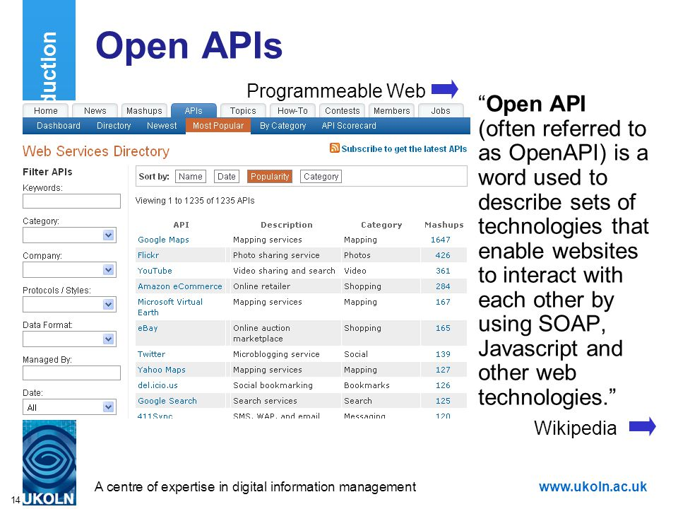 """A centre of expertise in digital information managementwww.ukoln.ac.uk 14 Open APIs """"Open API (often referred to as OpenAPI) is a word used to describ"""