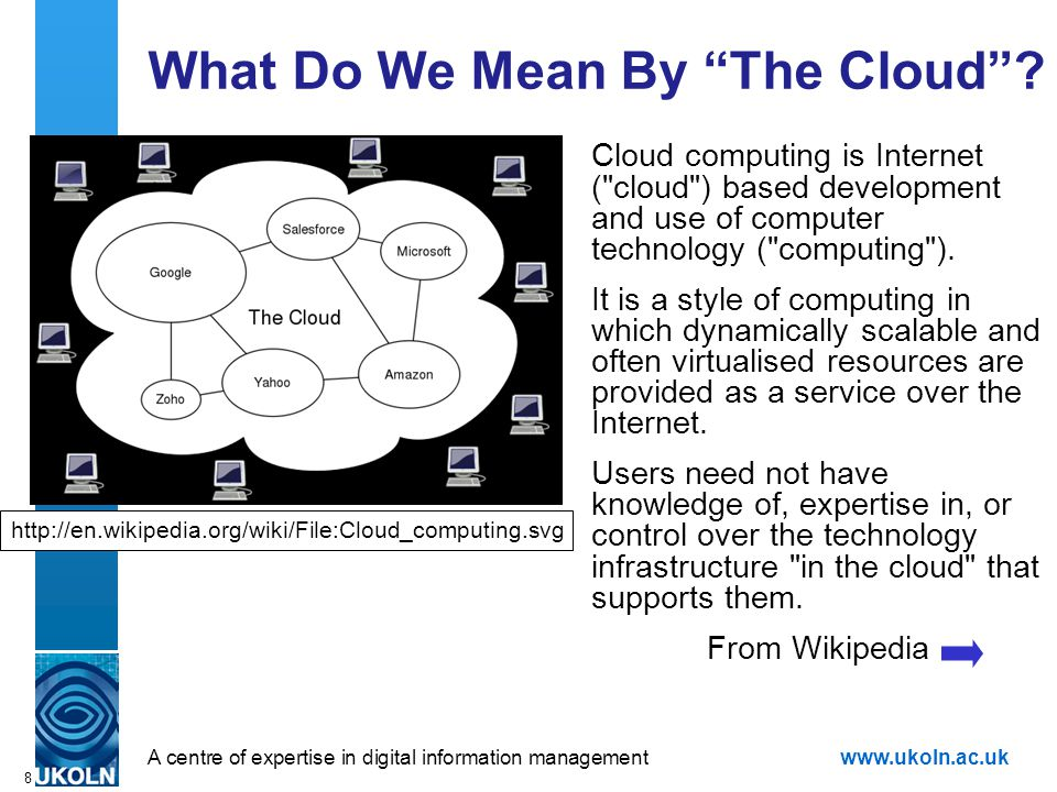 """A centre of expertise in digital information managementwww.ukoln.ac.uk 8 What Do We Mean By """"The Cloud""""? Cloud computing is Internet ("""