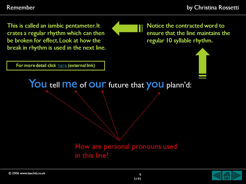 © 2006 www.teachit.co.uk Rememberby Christina Rossetti 9 5193 You tell me of our future that you plann d: How are personal pronouns used in this line.