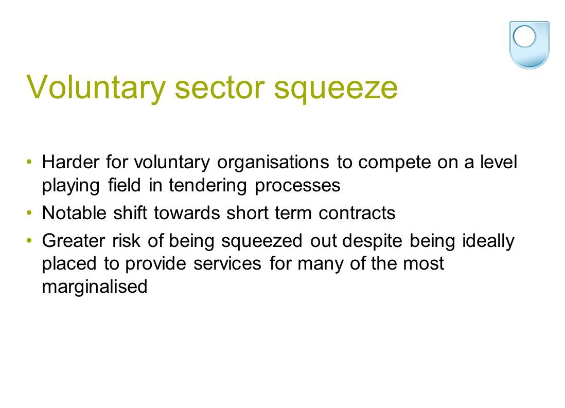 Voluntary sector squeeze Harder for voluntary organisations to compete on a level playing field in tendering processes Notable shift towards short ter