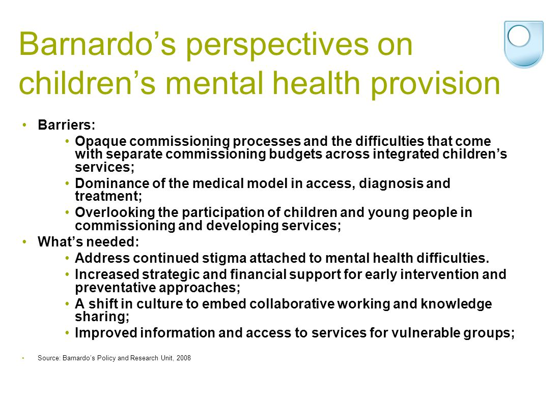 Barnardo's perspectives on children's mental health provision Barriers: Opaque commissioning processes and the difficulties that come with separate co