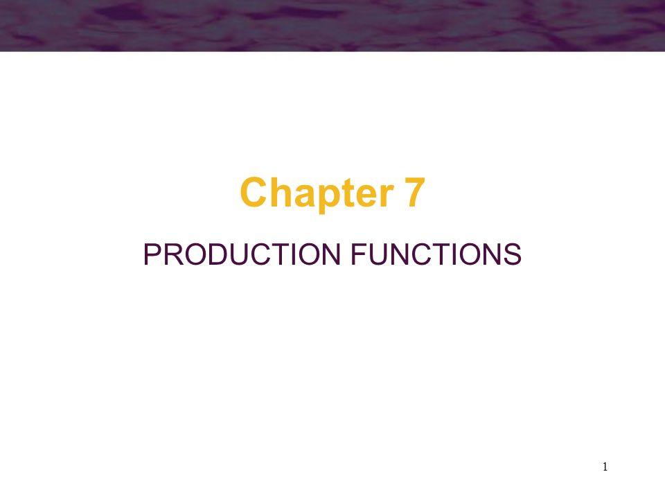 1 Chapter 7 PRODUCTION FUNCTIONS