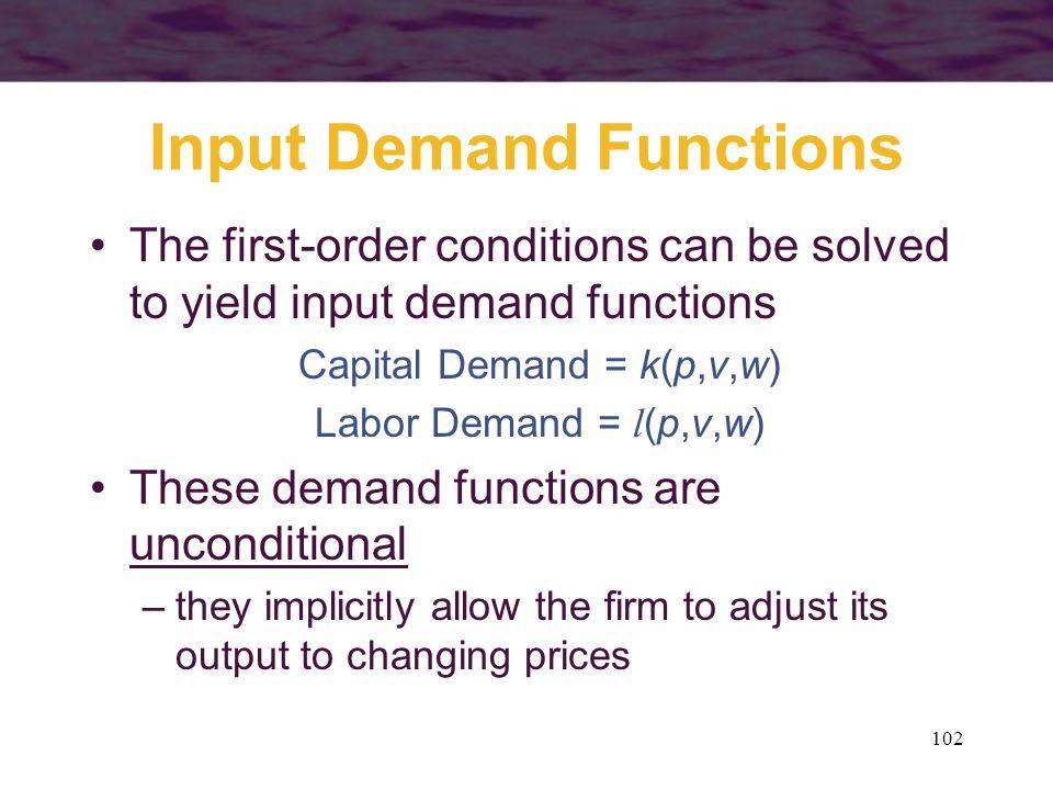 102 Input Demand Functions The first-order conditions can be solved to yield input demand functions Capital Demand = k(p,v,w) Labor Demand = l (p,v,w)