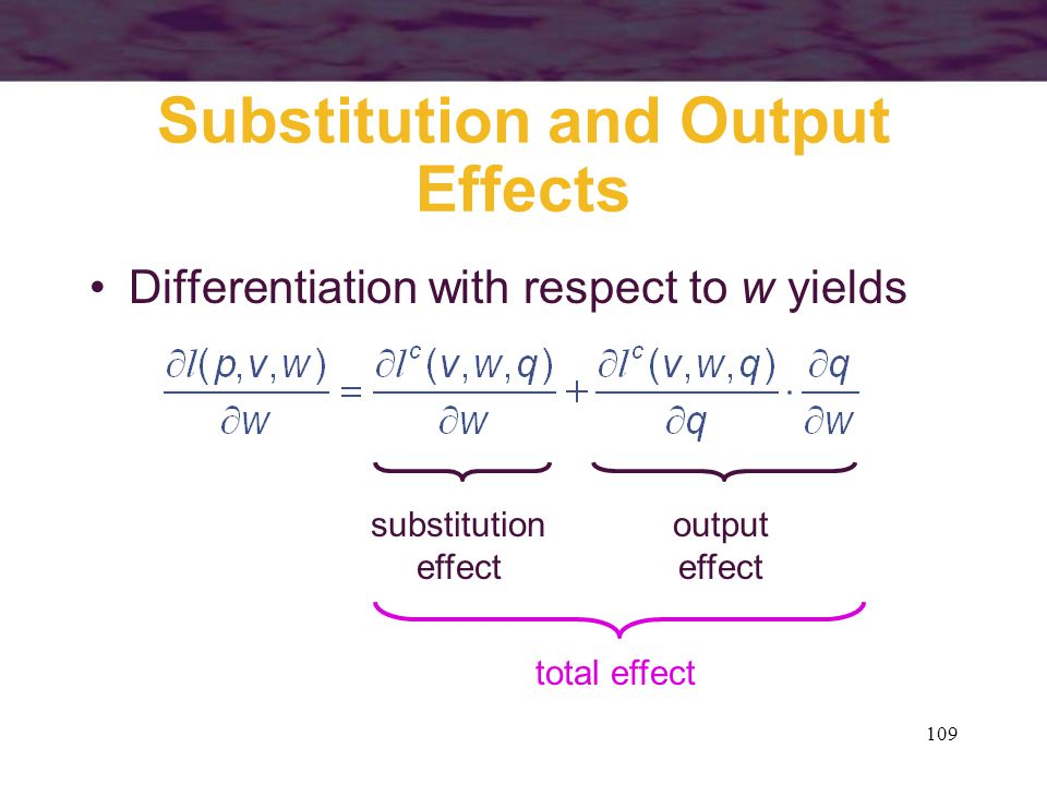 109 Substitution and Output Effects Differentiation with respect to w yields substitution effect output effect total effect
