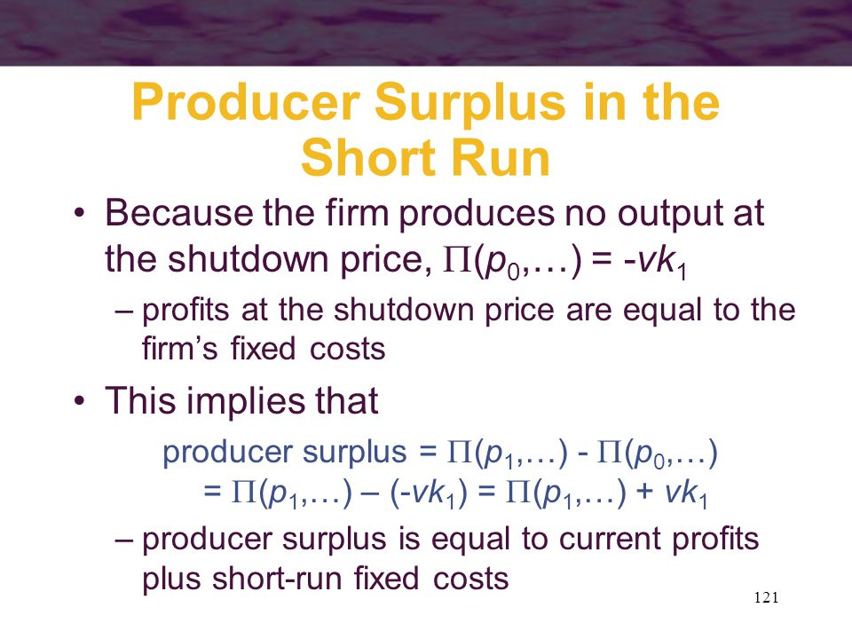 121 Producer Surplus in the Short Run Because the firm produces no output at the shutdown price,  (p 0,…) = -vk 1 –profits at the shutdown price are