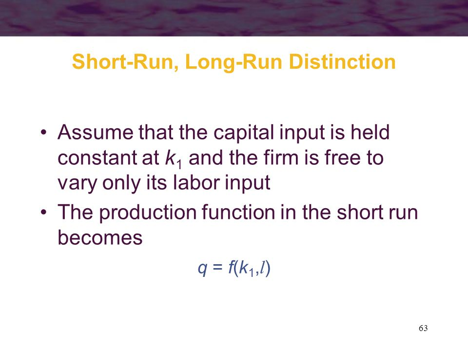 63 Short-Run, Long-Run Distinction Assume that the capital input is held constant at k 1 and the firm is free to vary only its labor input The product