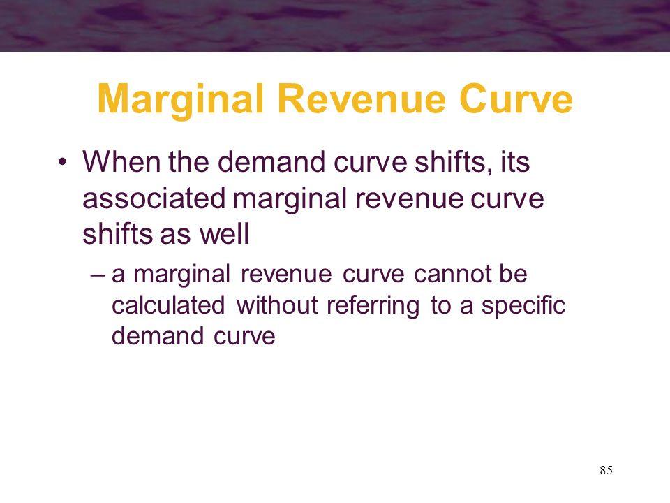 85 Marginal Revenue Curve When the demand curve shifts, its associated marginal revenue curve shifts as well –a marginal revenue curve cannot be calcu