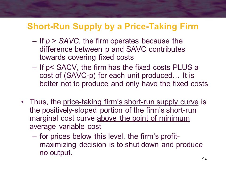 94 Short-Run Supply by a Price-Taking Firm –If p > SAVC, the firm operates because the difference between p and SAVC contributes towards covering fixe