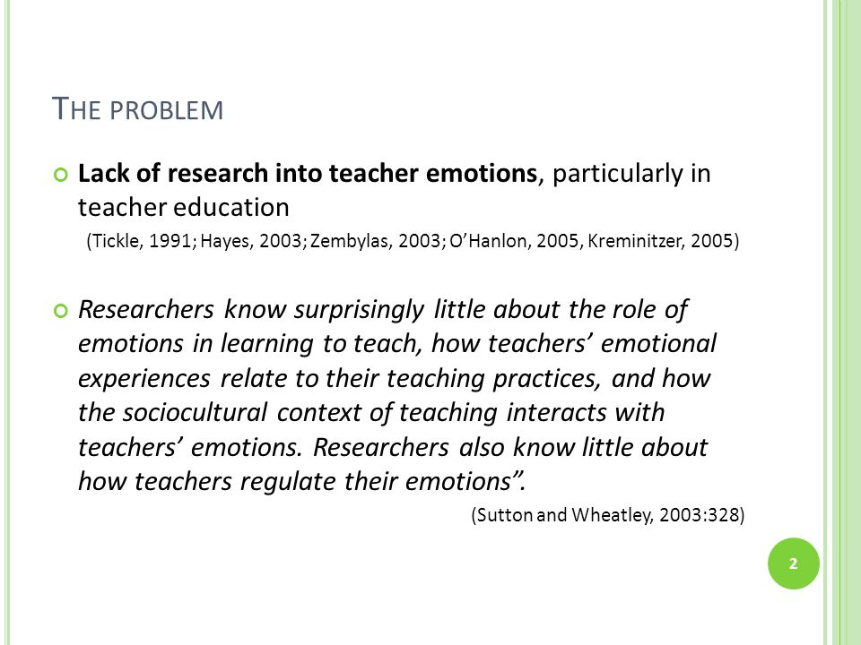 T HE PROBLEM Lack of research into teacher emotions, particularly in teacher education (Tickle, 1991; Hayes, 2003; Zembylas, 2003; O'Hanlon, 2005, Kre