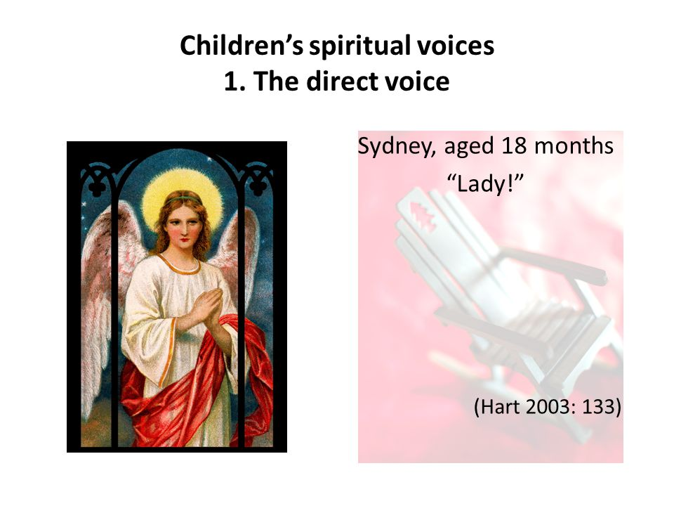 Children's spiritual voices 1. The direct voice Sydney, aged 18 months Lady! (Hart 2003: 133)