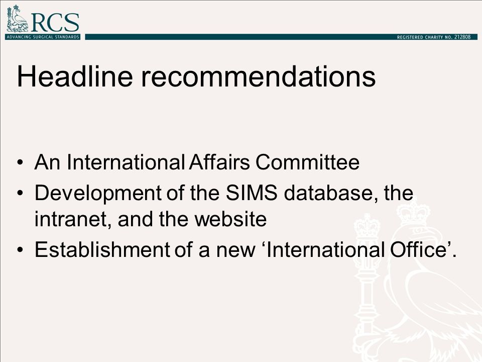 Headline recommendations An International Affairs Committee Development of the SIMS database, the intranet, and the website Establishment of a new 'In