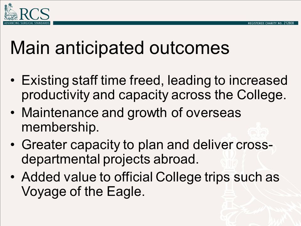 Main anticipated outcomes Existing staff time freed, leading to increased productivity and capacity across the College. Maintenance and growth of over