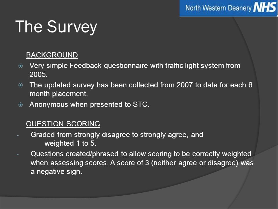 The Survey BACKGROUND  Very simple Feedback questionnaire with traffic light system from 2005.