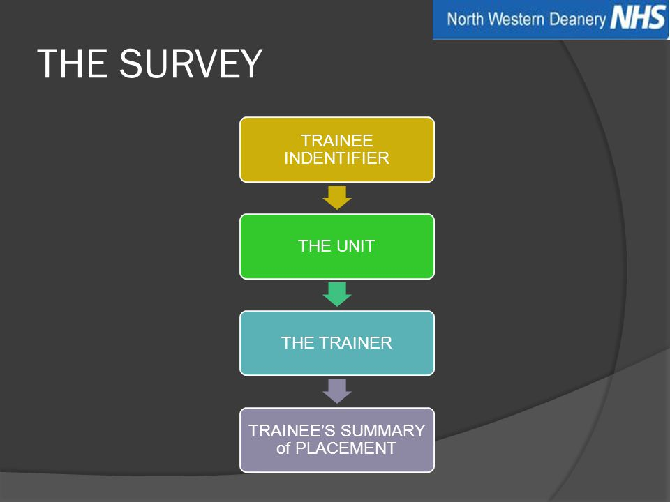 THE SURVEY TRAINEE INDENTIFIERTHE UNITTHE TRAINER TRAINEE'S SUMMARY of PLACEMENT