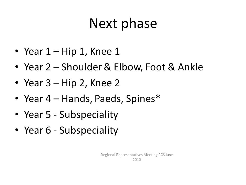 Next phase Year 1 – Hip 1, Knee 1 Year 2 – Shoulder & Elbow, Foot & Ankle Year 3 – Hip 2, Knee 2 Year 4 – Hands, Paeds, Spines* Year 5 - Subspeciality Year 6 - Subspeciality Regional Representatives Meeting RCS June 2010