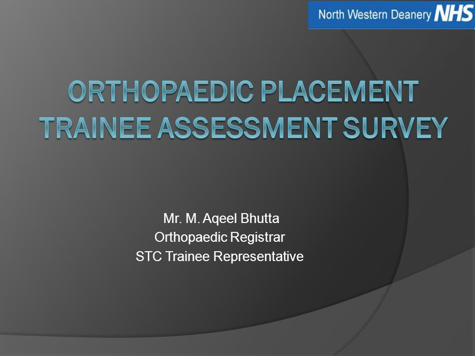 Mr. M. Aqeel Bhutta Orthopaedic Registrar STC Trainee Representative