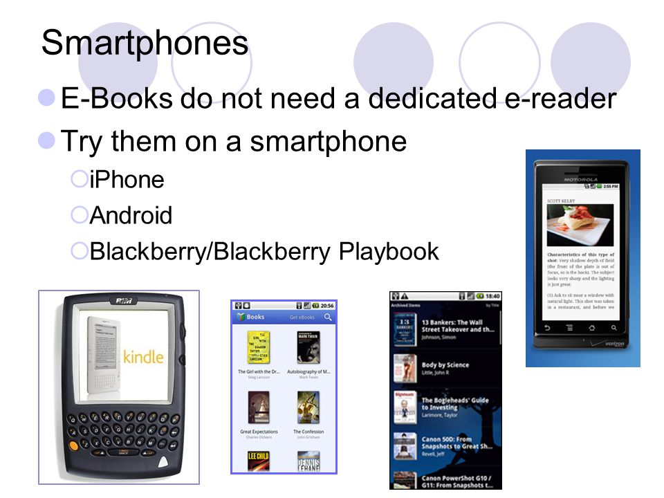 Smartphones E-Books do not need a dedicated e-reader Try them on a smartphone  iPhone  Android  Blackberry/Blackberry Playbook