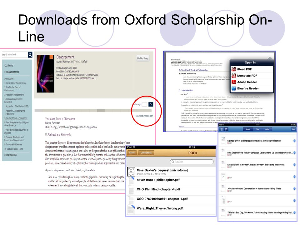 Downloads from Oxford Scholarship On- Line